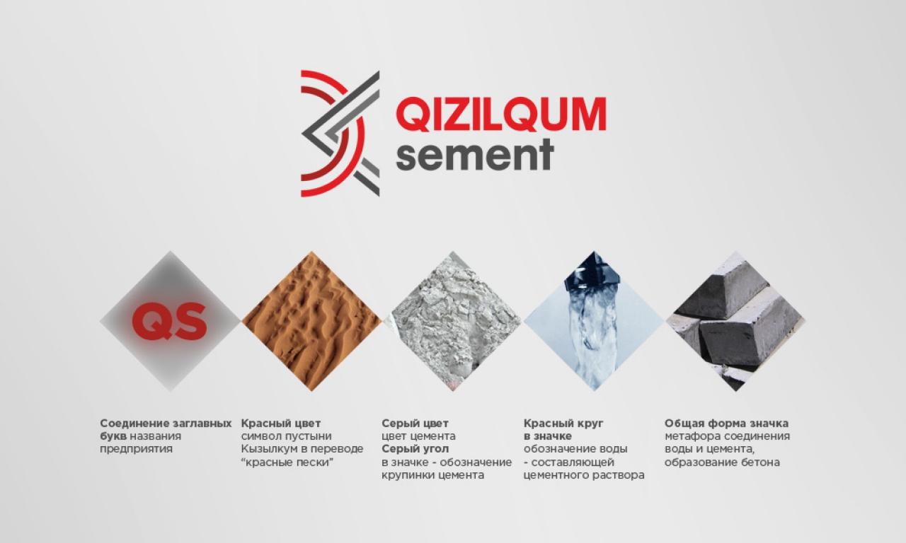 Логотип и фирменный стиль Qizilqum Sement